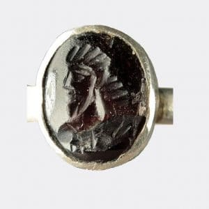 Helios Gallery Antiquities - Sassanian silver garnet seal ring