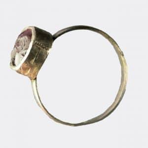 Helios Gallery Antiquities - Sassanian silver garnet seal ring