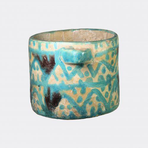Islamic Antiquities - Ziwiye polychrome glazed pottery pyxis vessel