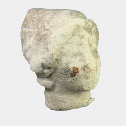 Cypriot Antiquities -Cypriot limestone head with conical head-dress