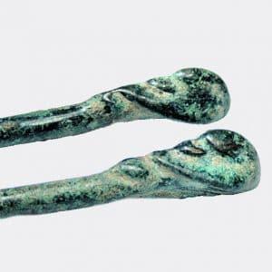 West Asian Antiquities - Pair of Luristan bronze duck terminal cloak pins