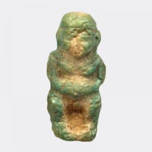 Egyptian Antiquities - Faience amulet depicting Ptaichos