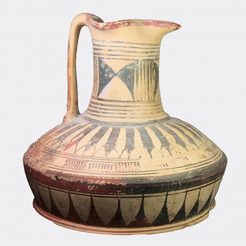 Ancient Etruscan - Geometric large painted pottery jug