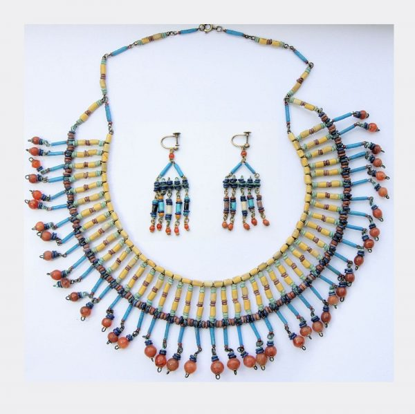 Ancient Jewellery - Egyptian necklace and earrings, ex. Mansoor