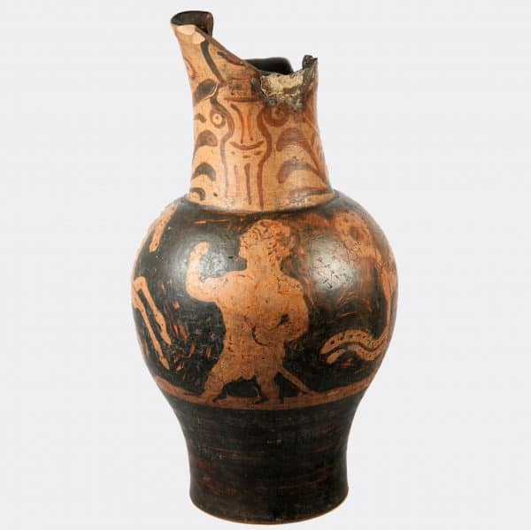 Miscellaneous Antiquities - Etruscan oinochoe with comic scene