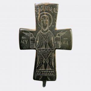 Byzantine Antiquities - Byzantine bronze reliquary cross fragment