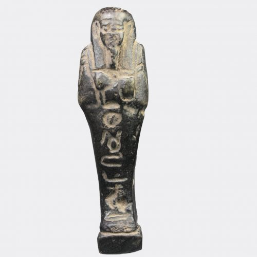 Egyptian Antiquities - Egyptian Late Dynastic shabti with inscribed legs and back