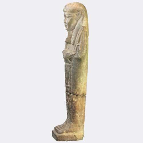 Egyptian Antiquities - Egyptian faience shabti with inscription