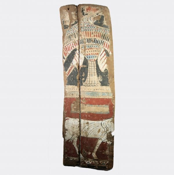 Egyptian Antiquities - Egyptian Hathor and Horus sarcophagus panel