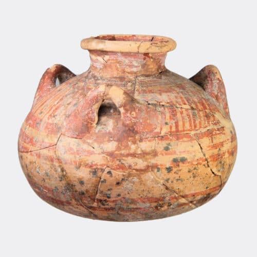Greek Antiquities - Mycenaean painted pottery jar with three handles