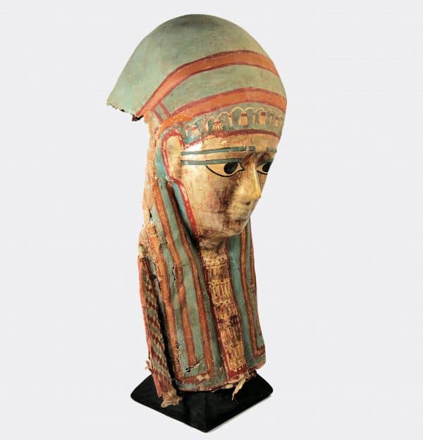 Egyptian Antiquities - Egyptian gilded and painted mask