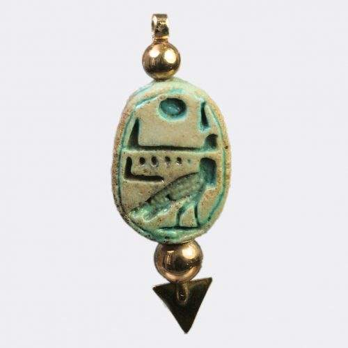 Egyptian Antiquities - Egyptian steatite scarab with a wish inscription
