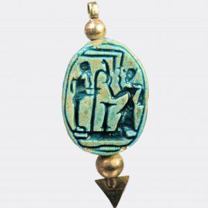 Egyptian Antiquities - Egyptian scarab depicting Ramesses II worshipping Ptah