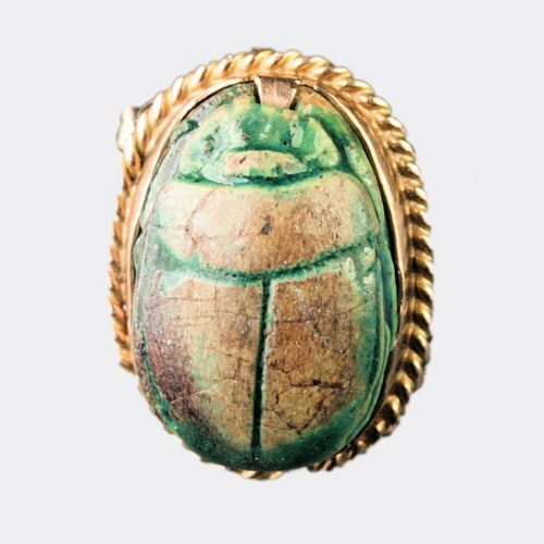 Ancient Jewellery - Egyptian steatite scarabs mounted into cufflinks