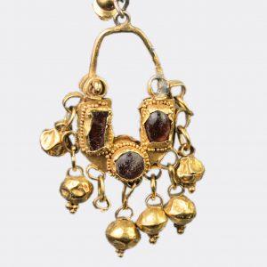 Roman Antiquities - Roman gold and garnet earrings
