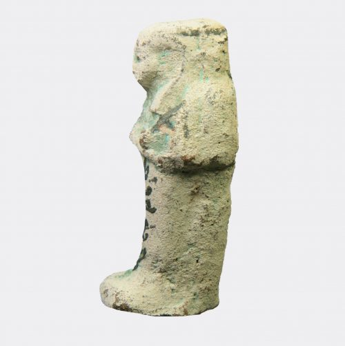 Egyptian pottery shabti with hieratic text for Djed-khons-iuef-ankh