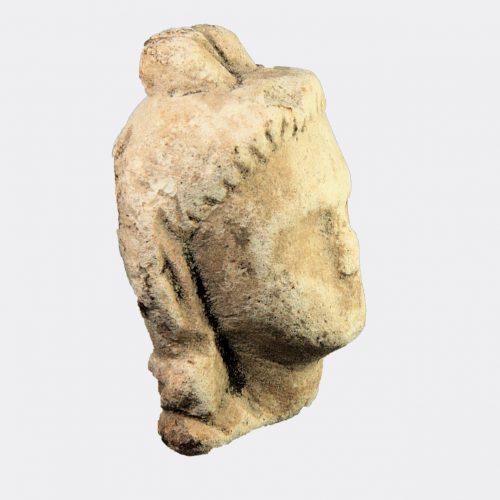 Cypriot Antiquities - Cypriot limestone head of Pan or Opaon Melanthios
