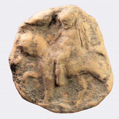Roman Antiquities - Roman pottery wine amphora stopper with Silenos decoration