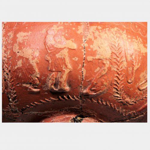 Roman Antiquities - Roman Gaulish Samian Ware decorated pottery bowl
