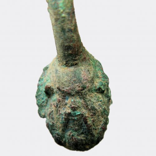 Greek Antiquities - Greek bronze handle with decorated terminals