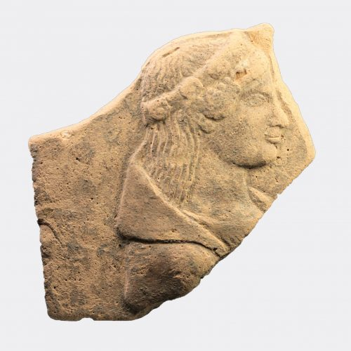 Greek Antiquities - Greek pinax fragment of Persephone from Locri
