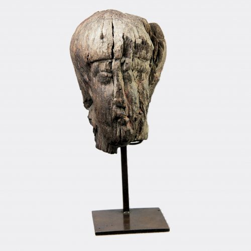 Ancient Gaul - Gaulish Celtic head from a carved wood votive sculpture