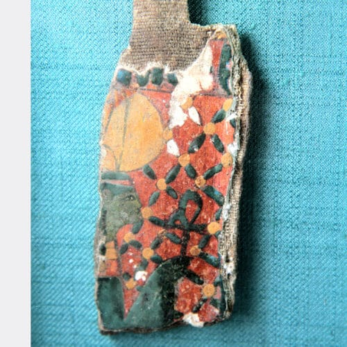 Egyptian Antiquities - Egyptian painted cartonnage sarcophagus fragment