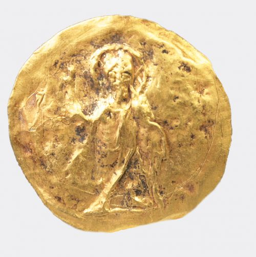 Byzantine Antiquities - Byzantine gold roundel depicting a saint