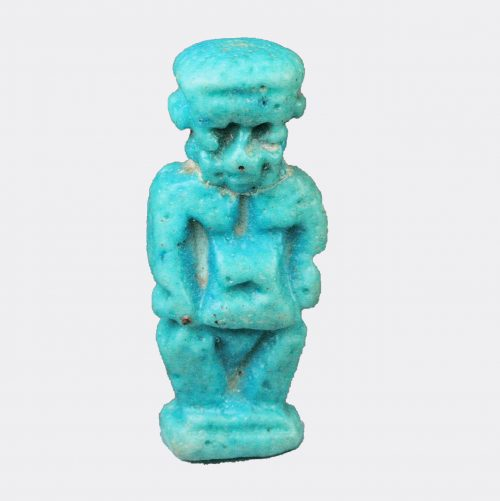 Egyptian Antiquities- Egyptian blue glazed faience Pataek amulet