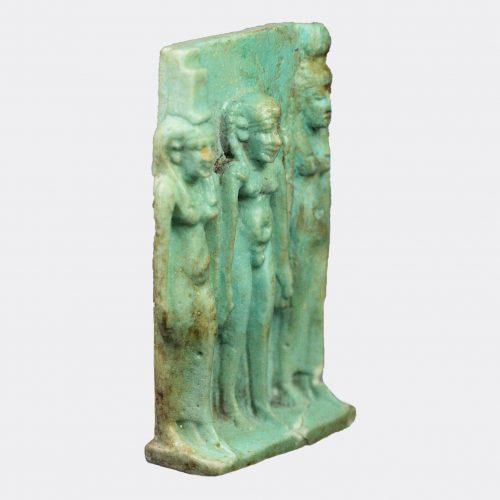 Egyptian Antiquities- Egyptian faience Osirian Triad amulet