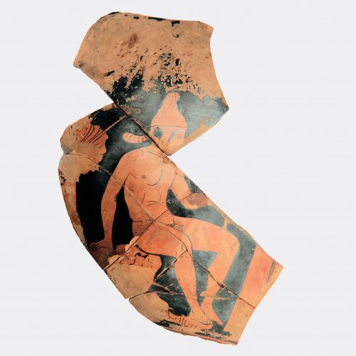 Greek Antiquities-Greek very large red figure fragment depicting a warrior