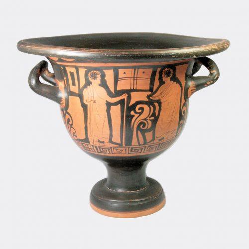 Greek Antiquities-Greek Apulian large red figure pottery bell krater