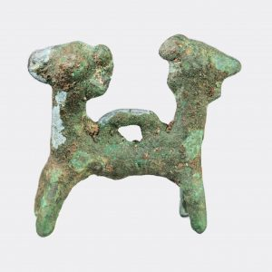 West Asian Antiquities - Luristan bronze janiform headed animal pendant