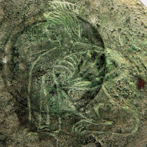 Cypriot Antiquities - Cypriot bronze mirror with sphinx decoration, ex. Kolokasides