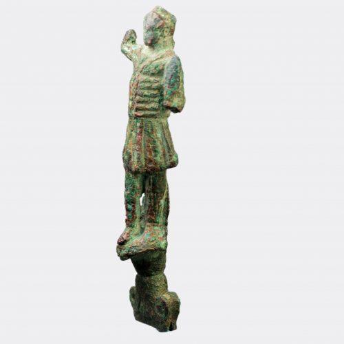 Roman bronze charioteer's falx knife handle