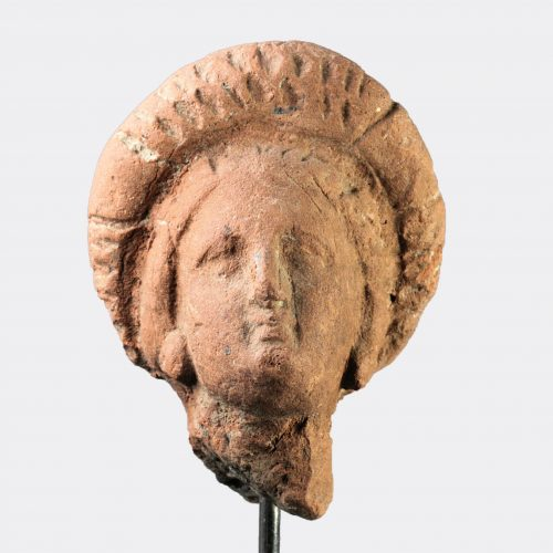 Greek Antiquities-Hellenistic pottery head of a woman