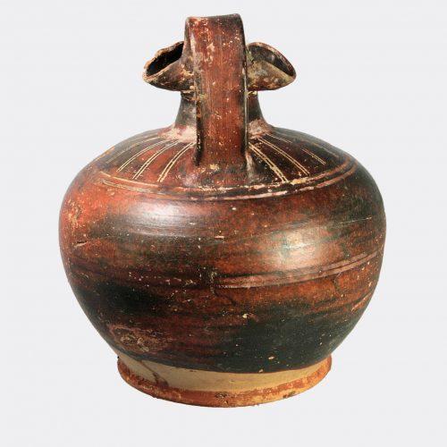 Greek Antiquities- Greek Corinthian black glaze oinochoe jug