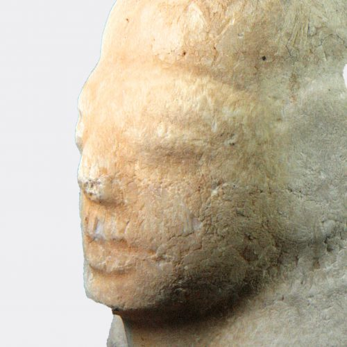 Egyptian Antiquities - Egyptian alabaster canopic lid of Imsety