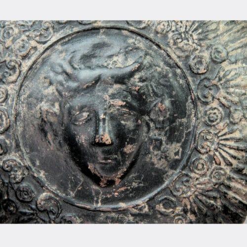 Greek Antiquities - Greek pottery guttus with lion head spout