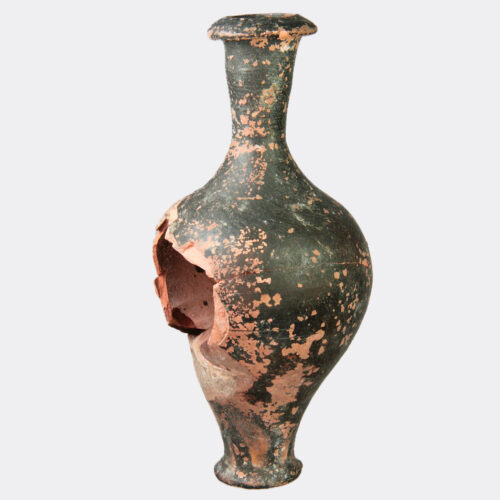 Greek Antiquities - Greek black glaze pottery spindle flask