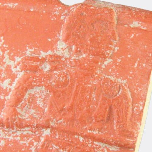 Roman Antiquities - Roman pottery fragment with gladiator decoration