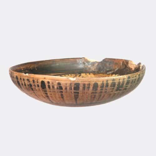 Greek Antiquities - Etruscan black figure pottery mesomphalos phiale
