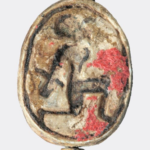 Egyptian Antiquities - Egyptian scarab depicting a bound captive