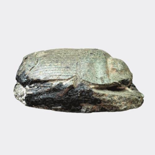 Egyptian Antiquities - Egyptian green basalt heart scarab