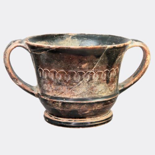 Greek Antiquities - Greek Attic kantharos with stamped palmette decoration