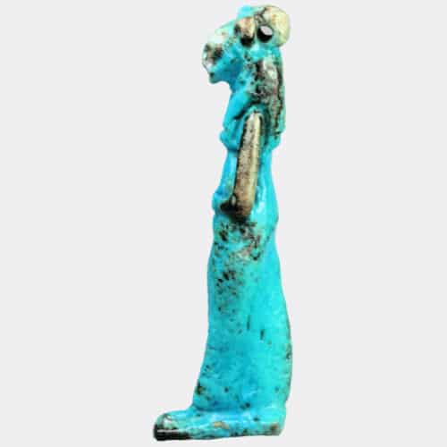 Egyptian Antiquities - Egyptian fine blue glazed faience amulet of Sekhmet
