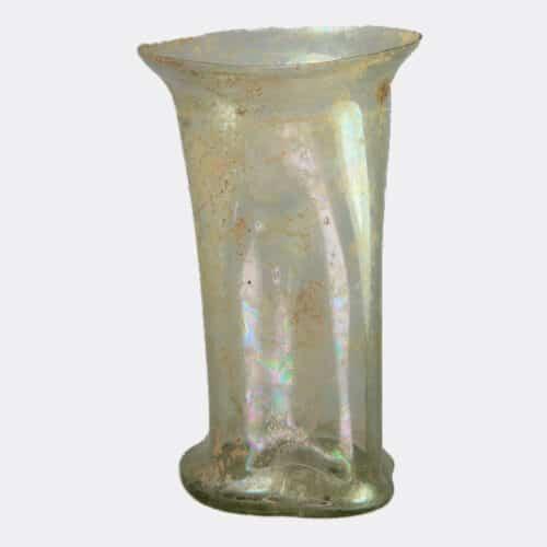 Roman Antiquities - Roman glass beaker with rectangular sides
