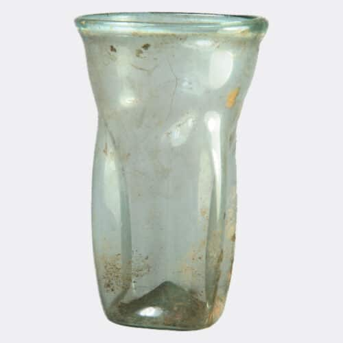 Roman Antiquities - Roman glass beaker with compressed sides