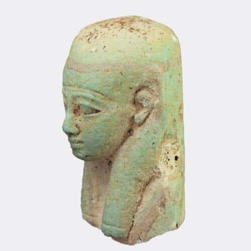 Egyptian Antiquities - Egyptian painted and moulded faience shabti fragment