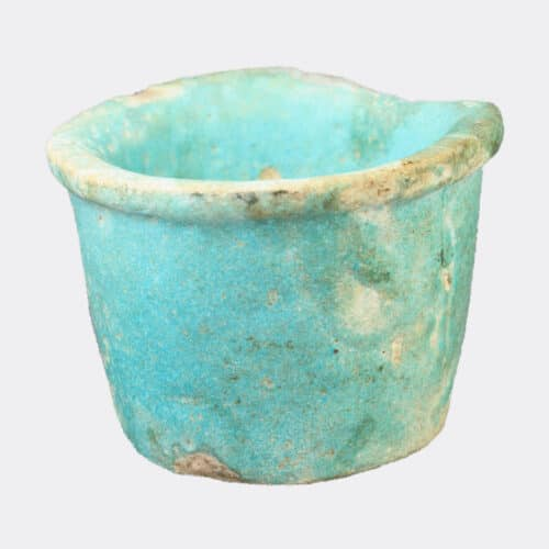 Egyptian Antiquities - Egyptian blue glazed faience cup